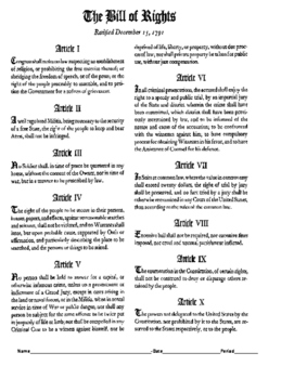 Bill Of Rights Activity/DBQ