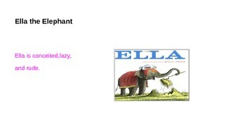 Bill Peet Character Traits Power Point Lesson/Discussion  3 stories Literature