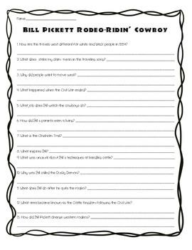 Bill Pickett: Rodeo Ridin' Cowboy Comprehension Questions