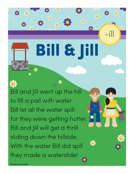 Bill and Jill - ill Word Family Poem of the Week