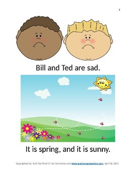 Bill and Ted are sad {a K-2nd grade beginning reader, and comprehension packet}