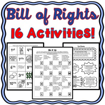 Bill Of Rights Activity Worksheets Teachers Pay Teachers