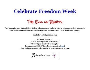 Bill of Rights Activities (Day 2 of Celebrate Freedom Week)