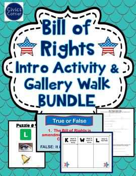 Bill of Rights Activity BUNDLE- Gallery Walk, Intro Activity and Writing Prompt