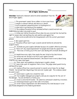 Bill of Rights Amendment Identification Worksheet with Answer Key