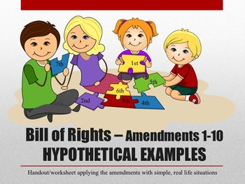 Bill of Rights Amendments 1-10 Simple Hypothetical situations Worksheet
