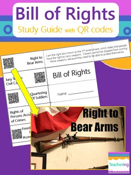 Bill of Rights Study Guide with QR Codes {10 Amendments}