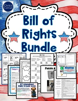 Bill of Rights Bundle: Gallery Walk, Task Cards, Worksheets, Case briefs,Puzzles