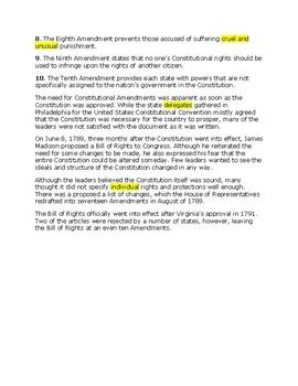 Bill of Rights -- CLOZE Reading
