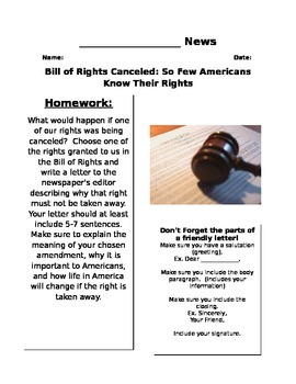 Bill of Rights Canceled Newspaper Activity