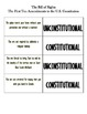 Bill of Rights: Constitutional or Unconstitutional Flash Cards and Cheat Sheet