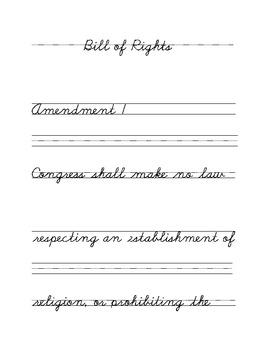 Bill of Rights Cursive Copywork