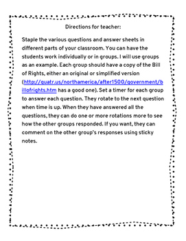 Bill of Rights Discussion Activity