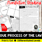 Bill of Rights & Due Process Reading & Writing Activity (S