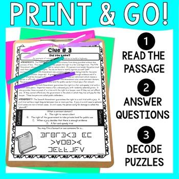 Bill of Rights ESCAPE ROOM - Amendments to the U.S. Constitution: Civics