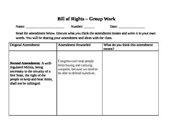 Bill of Rights Group Work