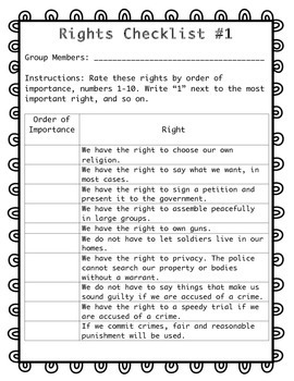 Bill of Rights- How Important Are Our Rights? A Two-Part Activity