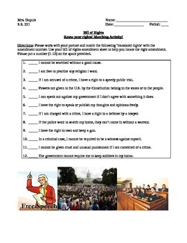 Bill of Rights Matching Activity