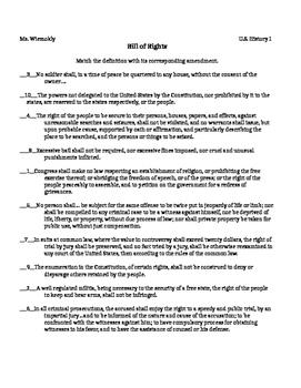 Bill Of Rights Matching Amendments By Social Studies And English