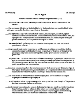 Bill of Rights Matching Amendments