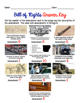 Bill of Rights Matching or Memory Game