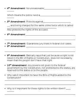 Bill of Rights Note Sheet