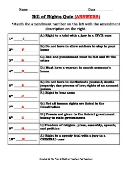 Bill of Rights Organizer, Quiz, Practice Quiz, and Answer Keys - Give Me 10!