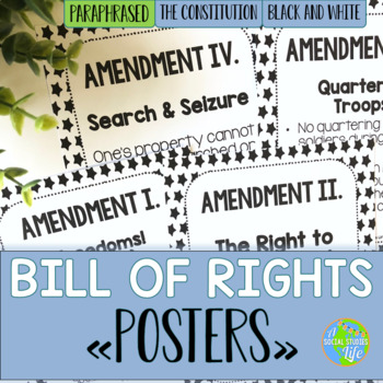 Bill of Rights Paraphrased POSTERS - Black and White