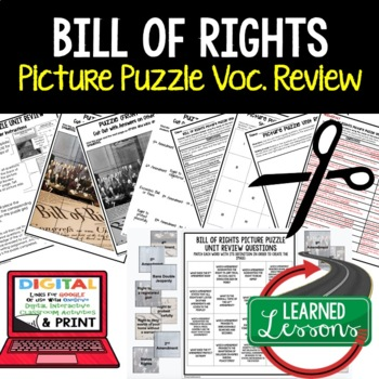Bill of Rights Picture Puzzle Unit Review, Study Guide, Test Prep #memoriesdeals