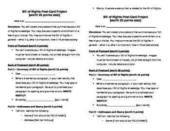 Bill of Rights Postcard Project