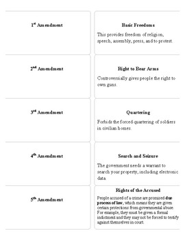 Bill of Rights Printable Vocabulary Cards
