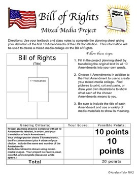 bill of rights project teaching resources teachers pay teachers