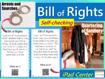 Bill of Rights Task Cards with QR Codes