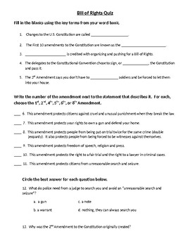Bill of Rights Quiz