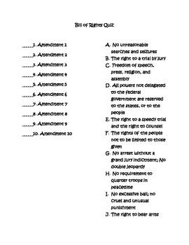 picture regarding Bill of Rights Quiz Printable identified as Monthly bill Of Legal rights Quiz Worksheets Coaching Components TpT