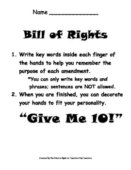 Bill of Rights Review - Graphic Organizer