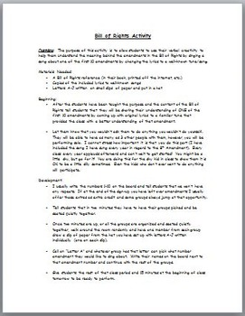 Bill of Rights Singing Activity - Make Up A Song to One of the Amendments