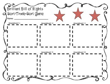 Bill of Rights: Sort-Trade-Sort Game (Promotes Active Classroom Engagement)