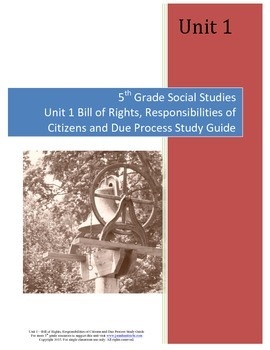 Bill of Rights Study Guide--5th Grade