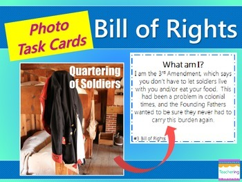Bill of Rights Task Cards {with matching PHOTOS for differ