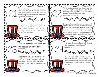 Bill of Rights Task Cards- 5th Grade and Higher