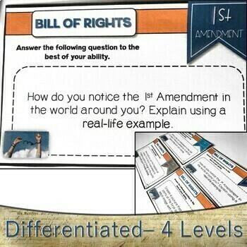 Bill of Rights Task Cards FREEBIE: Grades 7-12