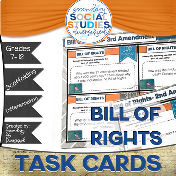 Bill of Rights Differentiated Task Cards: Grades 7-12