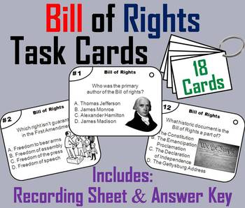Bill of Rights Task Cards and Activities Bundle