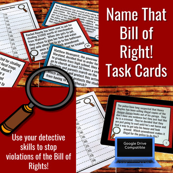 Bill of Rights Task Cards and Walk the Room