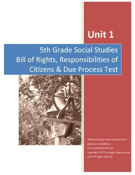 Bill of Rights Test--5th Grade Social Studies