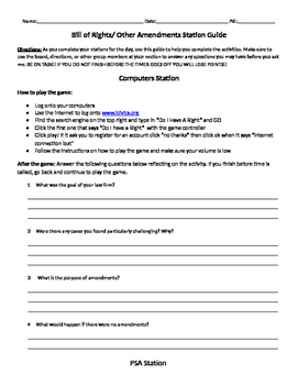 Bill of Rights/ The Amendments Station Guide