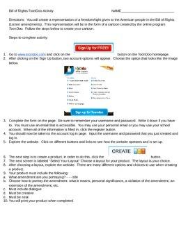 Bill of Rights ToonDoo Activity