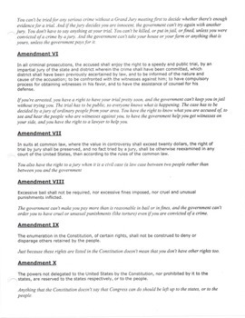 Bill of Rights - Translation for the middle school student
