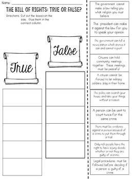 Bill of Rights: True or False? Cut and Paste